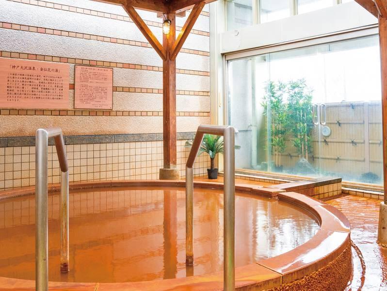 【露天風呂(昼)】かけ流し茶褐色の温泉