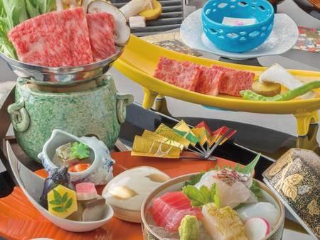 【神戸牛会席/例】人気の神戸牛を鉄板焼きとすき焼きで味わう