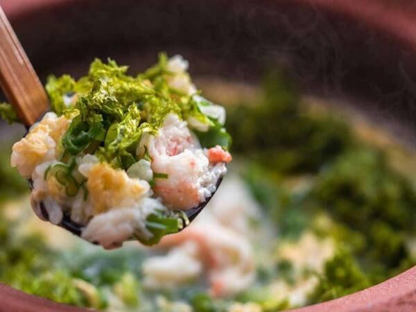 【1人2杯夕庵コース(茹で蟹なし)/一例】夕庵自慢の出汁にかにのうまみが凝縮された〆の絶品雑炊