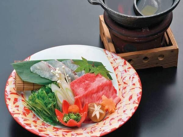 【輝プラン】神戸牛と鯛の2色鍋/例