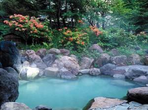 【露天風呂】 こぶりながら自慢の乳白色の湯がたっぷり