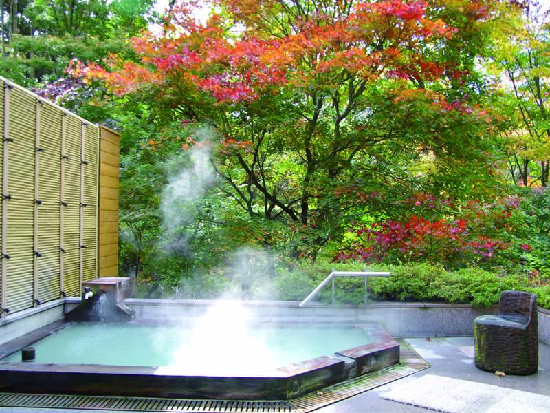 【露天風呂】四季折々の景色を眺めながら濃厚な硫黄泉を満喫!