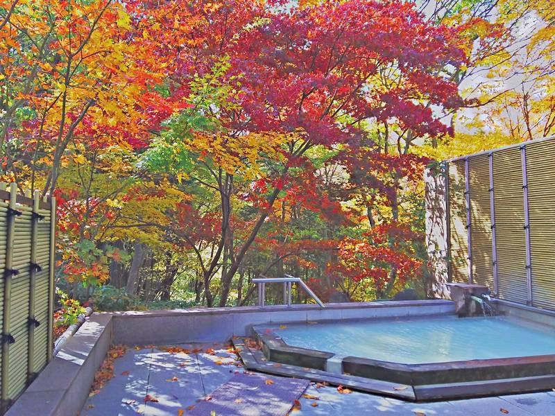 【大浴場】秋は鮮やかな紅葉が映える
