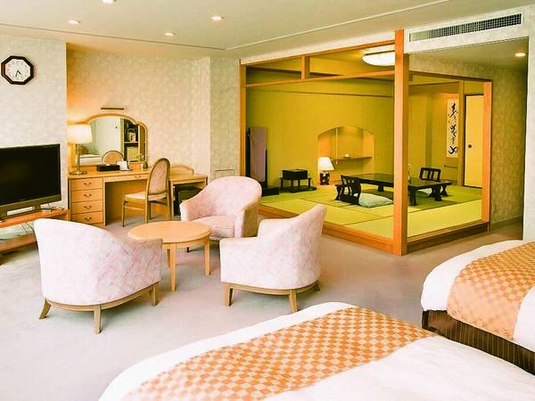 【和洋室/例】ベッド2台を配置しながらもゆとりあるお部屋