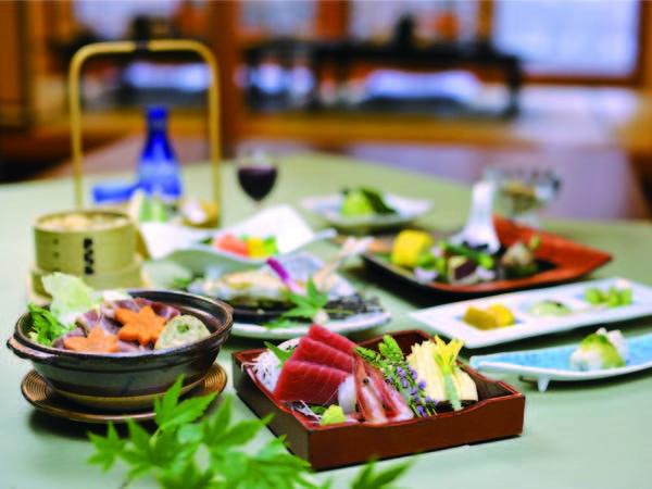 【夕食/例】鴨ねぎ鍋・生湯波とびんちょう鮪柚子塩お造り・ビーフシチュー・天ぷら等