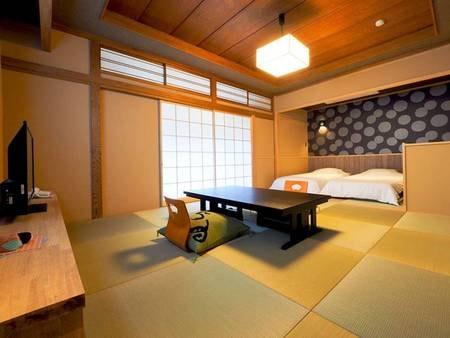 【スタンダード和室ツイン/シャワーブース/例】広々とした10畳和室にベッドを配置