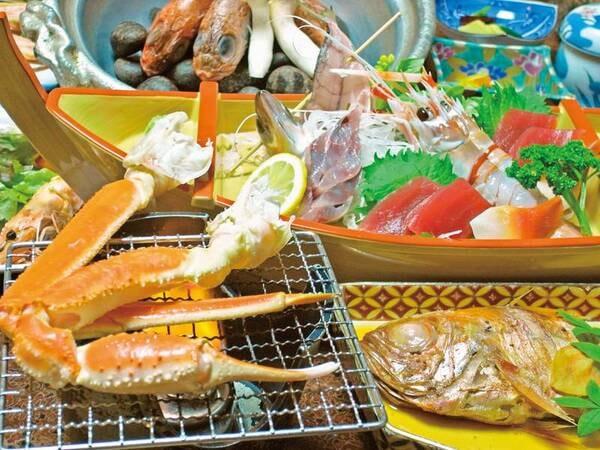 【焼蟹付!金目鯛・海鮮会席の夕食/例】焼き蟹、金目鯛姿煮、舟盛、名物・かさご石焼鍋など