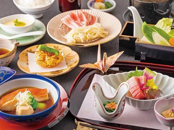 【和食基本会席プラン/例】前菜、お造り、金目鯛(切り身)の煮つけなどを中心とした季節の和食会席