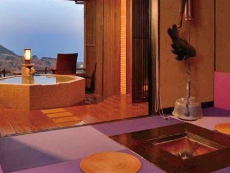 【客室・夢の杜/例】離れの洋室ツイン。海を望む専用露天風呂付き