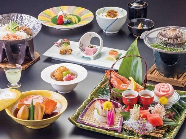 【あわび&金目鯛お得会席の夕食/例】2種類から選べる金目鯛料理、あわびの踊り焼き、鮮魚のお造り盛など