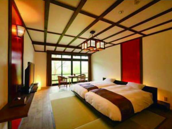 2階ベッド客室/和洋室・例 ベッドを備えた和室・大正モダンツインルームより宿おまかせ