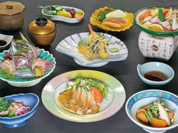 【お値頃!海の幸プラン/春~初夏の夕食一例】季節の地魚会席をご用意!駿河湾が見えるレストランでどうぞ!※写真は1人分