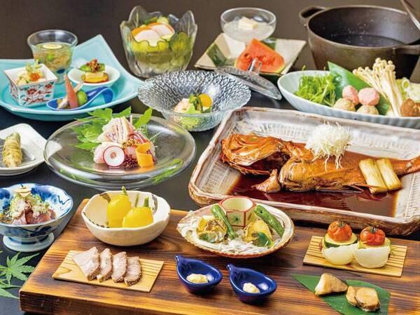 【夕食/例】あわびと地野菜のせいろ蒸し・金目鯛のまるごと姿煮など、伊豆の地産会席
