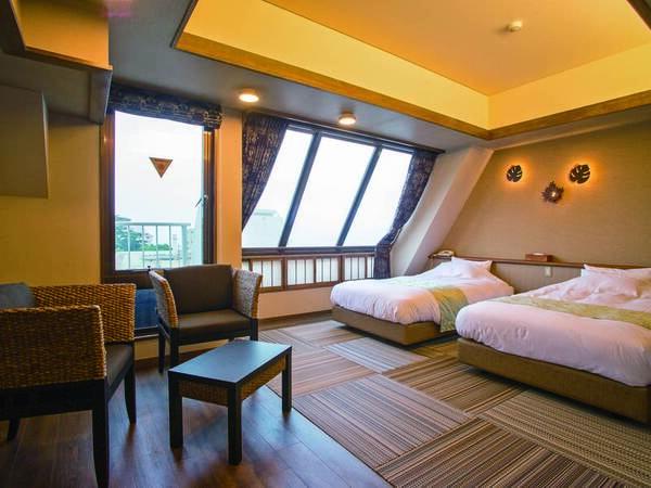 【客室/例】アジアンデザインルーム「ツインルーム」。和洋室のようになっており快適