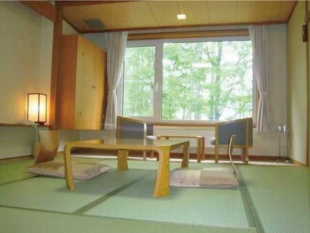 【和室/例】8畳のお部屋からはカラマツ林を眺める