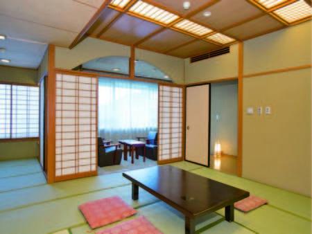 【特別室/例】12.5畳+6畳のゆったりとした和室。広々としたお部屋で寛げる