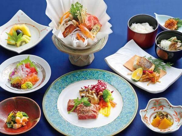 【特選ディナーコース/例】厳選された旬の食材をふんだんに使い、料理長が自慢の腕を振るう特選ディナーコースをお楽しみください