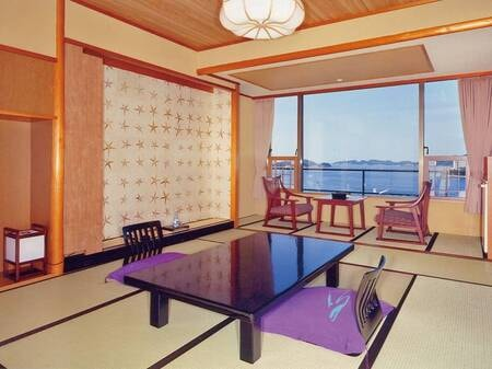 【汀館和室/例】12.5畳+3畳の広々とした2間和室。鳥羽湾一望のオーシャンビュー