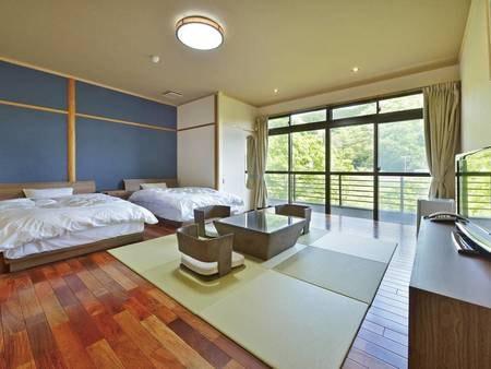 【和洋ベットルーム(禁煙)】 畳の落ち着いた雰囲気と嬉しいツインベッドの広々とした和洋室でゆっくりと過ごせます。