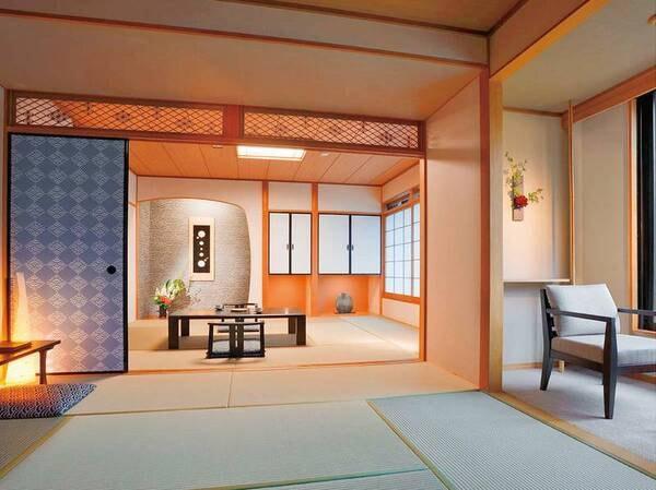 【和室「神島」(10畳+8畳)/例】伊勢型紙に用いられてきた伝統的な文様を、襖、欄間に採用しています