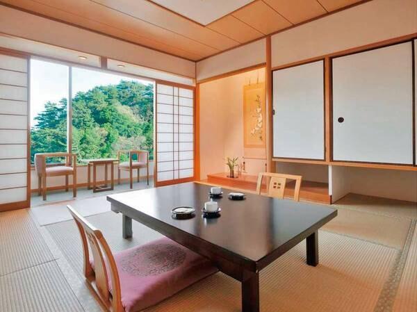 【和室10畳/例】純和室のしつらいも清々しい落ち着きあるお部屋は、お客様の楽しい和みをさらに演出します