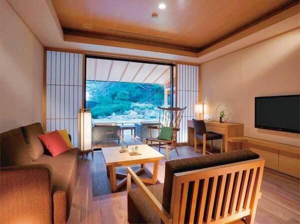 【プレミアムスイート84㎡/例】和の寛ぎと洋の快適性をお愉しみいただける、露天風呂付客室です