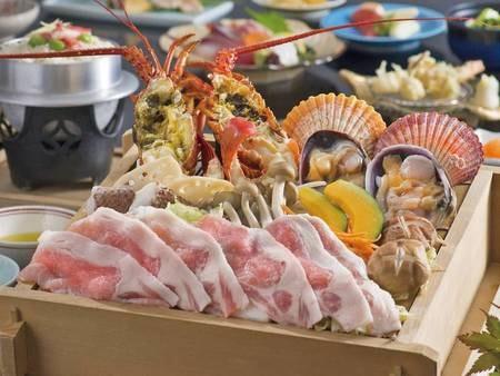 【夕食/例】伊勢海老を中心とした三重の新鮮な魚介を豪快に蒸して頂ける会席