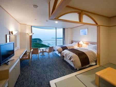 【ウェルネス和洋室/例】シモンズ製ベッドを導入し、快適さを重視した和洋室