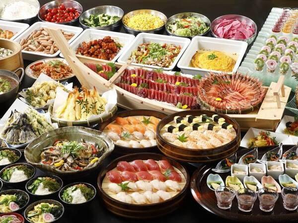 夕食は種類豊富な和洋中バイキング/例