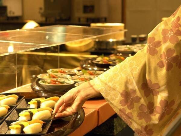バイキング/接触感染防止のため、料理は小皿盛りで提供/寿司例
