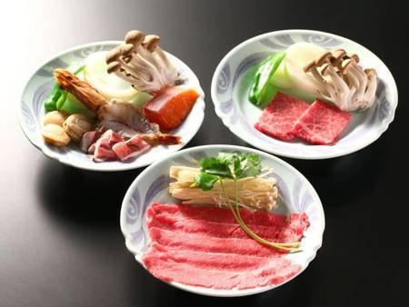 【夕食】「選べる台の物」3種から選択可能。海鮮陶板焼・信州牛石焼・信州牛しゃぶしゃぶ