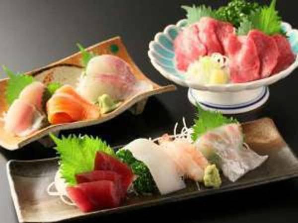 【夕食】「選べるお造り」3種から選択可能。馬刺し・川魚のお刺身・海のお刺身