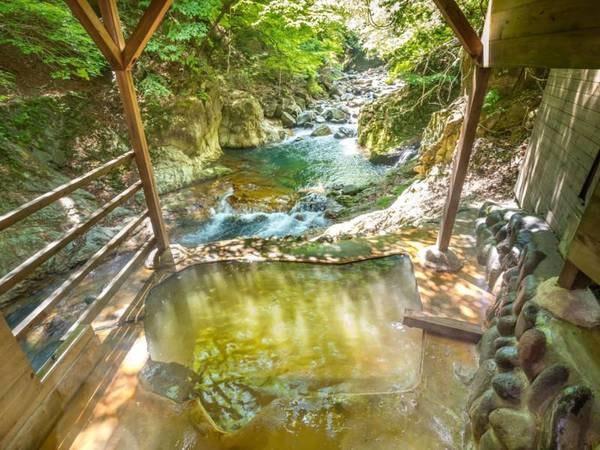 【渓流のゆの宿 塩の湯 柏屋旅館】開湯1200年の塩原温泉「塩の湯」は太古の天然ミネラルをたっぷりと含んだ名湯。渓流に面した野趣あふれる貸切露天風呂で、100%源泉かけ流しの秘湯を堪能