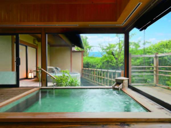 【海眺めの露天風呂 風の章】温泉檜風呂、温泉露天岩風呂、露天ジャグジー石風呂を完備