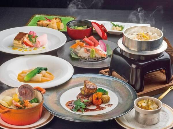 【特典付プライムディナー/例】雲丹・鮑がついた贅沢な夕食コース