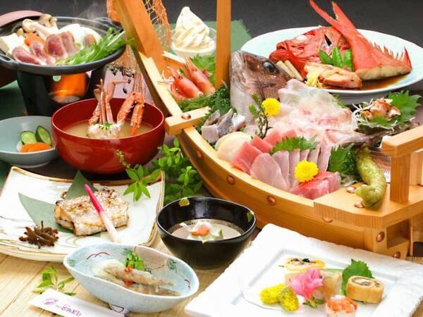 【夕食/例】舟盛り付きの磯料理